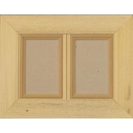cadre bois brut 2 ouvertures de 10x15cm. Black Bedroom Furniture Sets. Home Design Ideas